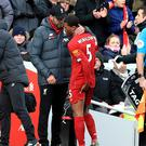 Georginio Wijnaldum was forced off against Watford with an injury (Peter Byrne/PA).