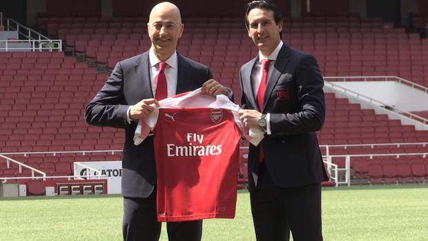 Unai Emery is unveiled as Arsenal manager in May 2018 alongside the club's then chief executive Ivan Gazidis (PA Archive/PA Images)