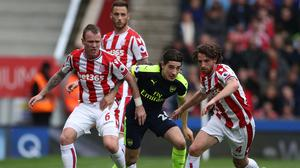 Hector Bellerin, centre, was delighted with Arsenal's win at Stoke