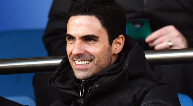 Mikel Arteta watched his new side in action at Goodison Park (Anthony Devlin/PA)