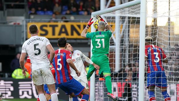 Crystal Palace goalkeeper Vicente Guaita (centre) dropped the ball over the goal line to gift Sheffield United all three points (Tess Derry/PA)