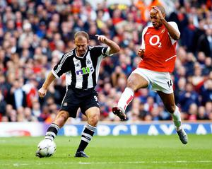 Former Newcastle captain Alan Shearer, left, and Arsenal great Thierry Henry are the only players to have won the Premier League golden boot in three successive seasons (Andy Zakeli/PA)