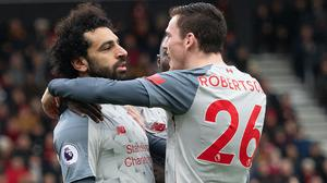 Mohamed Salah, left, and Andy Robertson could both return against Crystal Palace (Mark Pain/PA)