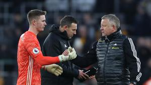 Chris Wilder, right, expects Dean Henderson, left, to make his England debut soon (Bradley Collyer/PA)