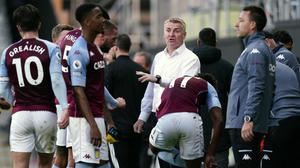 Dean Smith, centre, cites improved fitness as a key factor in Villa's turnaround (Will Oliver/PA