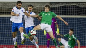 Paddy McNair, number 17, was injured on Northern Ireland duty