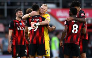Bournemouth celebrate during a shock 4-1 win against Leicester (Michael Steele/NMC Pool/PA)
