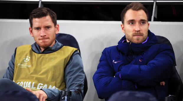 Christian Eriksen, right, and Jan Vertonghen have stalled contract talks at the club (Adam Davy/PA)