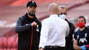 Liverpool manager Jurgen Klopp (left) with Burnley manager Sean Dyche (Oli Scarff/NMC Pool)