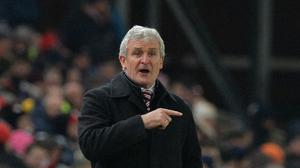 Mark Hughes takes his Stoke side to Leicester on Saturday.