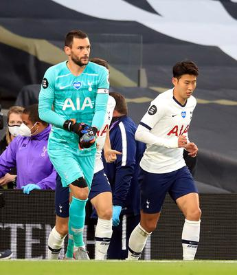 Hugo Lloris, left, and Son Heung-min, right, had an on-pitch argument as Tottenham ground past Everton (Adam Davy/NMC Pool)
