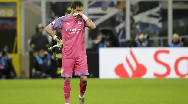 Claudio Bravo was sent off for Manchester City against Atalanta in midweek (Luca Bruno/AP).