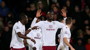 Aston Villa's Christian Benteke, centre, celebrates scoring