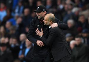 Mutual respect: Pool manager Jurgen Klopp and City boss Pep Guardiola Photo: Getty Images