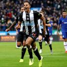 Newcastle's Isaac Hayden celebrates his late winner against Chelsea (Owen Humphreys/PA)