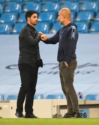 Reunited: Arsenal manager Mikel Arteta comes up against his former boss at Manchester City, Pep Guardiola, tomorrow
