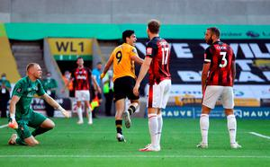Net gains: Raul Jimenez celebrates heading in the only goal in Wolves' victory