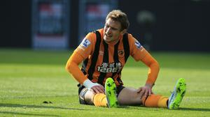 Hull's Nikica Jelavic missed a golden chance to see off Leicester on Saturday