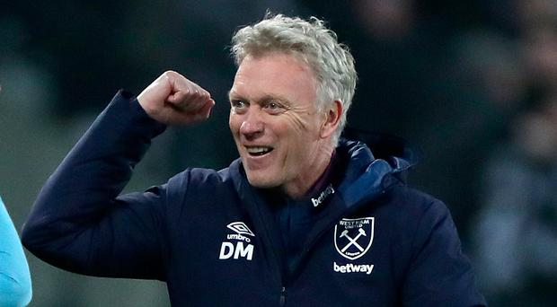 Great start: David Moyes salutes victory in his first match back