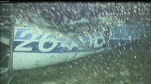 Handout still from footage captured by a remotely-operated vehicle, showing the wreckage of the aircraft carrying Emiliano Sala (AAIB)