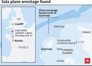 Graphic showing location of aircraft wreckage (PA Graphics)