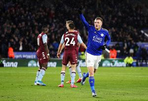 Leicester's 4-0 win over Aston Villa on March 9, in which Jamie Vardy scored twice, was the last Premier League match attended by supporters (Nigel French/PA)