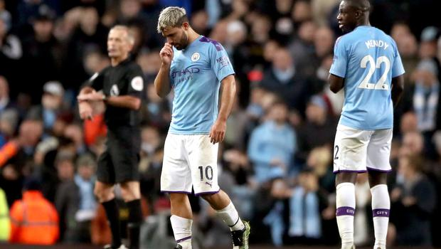 Sergio Aguero limped off against Chelsea (Nick Potts/PA)