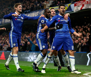 I'm back: Diego Costa celebrates giving Chelsea the lead after the striker's recall to the team