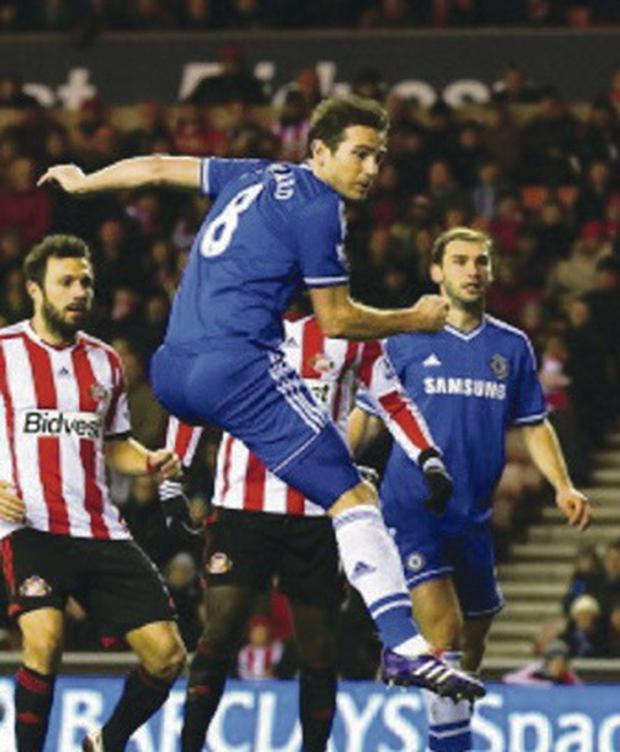 Frank Lampard heads home against Sunderland