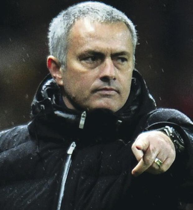 Frustration: Jose Mourinho gives out instructions to his players
