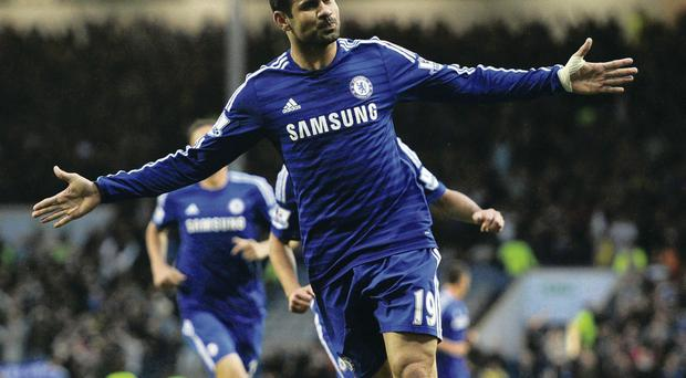 Blue heaven: Diego Costa gets off the mark