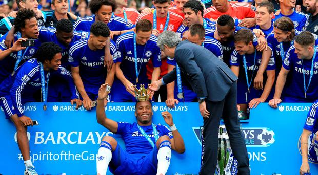 Crowning moment: Jose Mourinho and Chelsea bid farewell to Didier Drogba after lifting the Premier League trophy