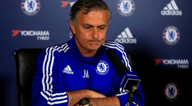 Unhappy One: Jose Mourinho is less than impressed with Chelsea's slow start to the defence of their Premier League crown