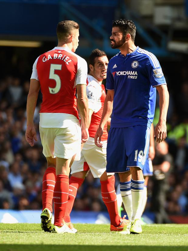 Red mist: Diego Costa clashes with Gabriel