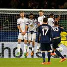 Wicked deflection: Zlatan Ibrahimovic's free-kick hits Jon Obi Mikel and wrong foots Chelsea goalkeeper Thibaut Courtois