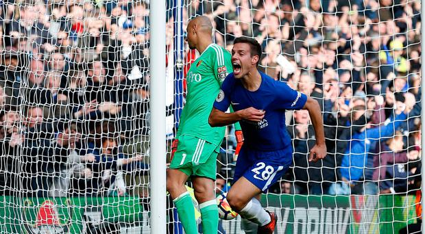 Late winner: Cesar Azpilicueta won game for Chelsea