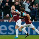 Off the mark: Marko Arnautovic hails his first goal for West Ham