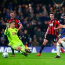 Dramatic: Alvaro Morata slots past Bournemouth keeper Artur Boruc to win it for Chelsea late on