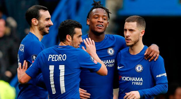 Hit man: Michy Batshuayi (third right) congratulated after scoring