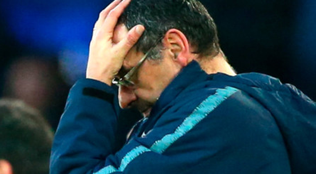 Frustrated figure: Chelsea manager Maurizio Sarri