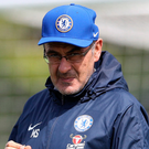 Gearing up: Maurizio Sarri and assistant Gianfranco Zola oversee Chelsea training