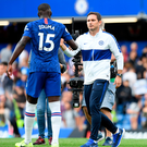 Good effort: Frank Lampard with Kurt Zouma after the full-time whistle