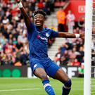 Goal threat: Tammy Abraham celebrates after scoring the opening goal