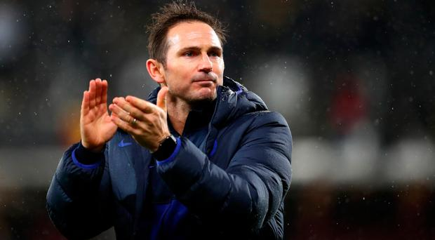 Winning run: Frank Lampard salutes the travelling fans