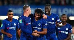 Five alive: Reece James of Chelsea celebrates with Ross Barkley and Kurt Zouma after bagging his side's fifth goal