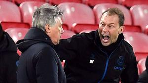 Everton manager Carlo Ancelotti and assistant Duncan Ferguson (right) celebrate at Anfield (Paul Ellis/{PA)