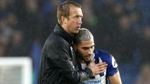 Graham Potter, left, has been impressed by Brighton top scorer Neal Maupay (Gareth Fuller/PA)