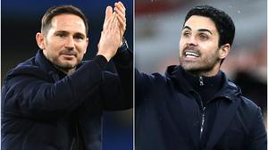 Arsenal boss Mikel Arteta believes Chelsea counterpart Frank Lampard has the strongest squad in the Premier League. (Mike Hewitt/PA/Peter Cziborra/PA)