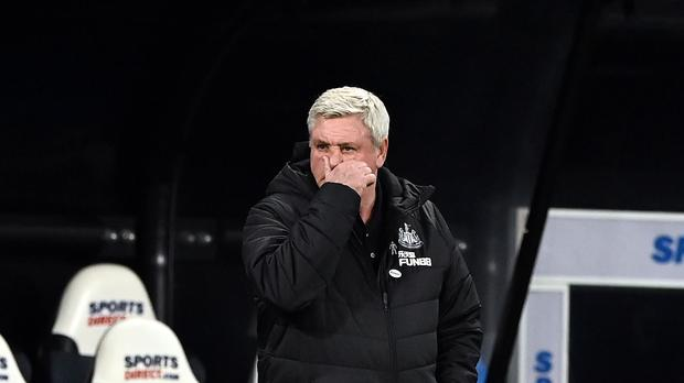 Newcastle United manager Steve Bruce on the touchline during the Premier League match at St. James' Park, Newcastle. Picture date: Saturday February 27, 2021.