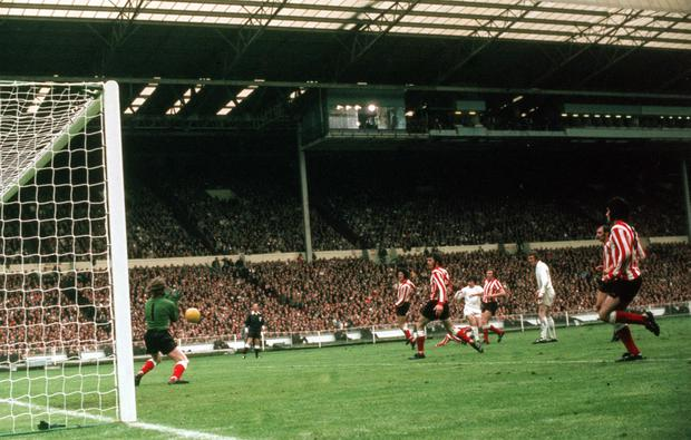 Sunderland's goalkeeper Jim Montgomery pulled off a stunning save to deny Lorimer in the 1973 FA Cup final (PA)